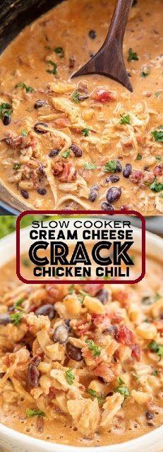 Slow Cooker Cream Cheese Crack Chicken Chili Slow Cooker Cream Cheese Crack Chicken Chili Slow Cooker Creäm Cheese Cräck Chicken Chili - t. Top Crockpot Recipes, Slow Cooker Recipes, Beef Recipes, Soup Recipes, Healthy Recipes, Drink Recipes, Delicious Recipes, Meatball Recipes, Dinner Recipes