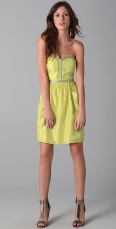 Rebecca Taylor strapless party dress $175 #fashion #outfit #dress #clothes #mini #neon #yellow #bright #sequin #party #evening #club #date #sexy #summer #vacation #modern #style #silk #cocktail