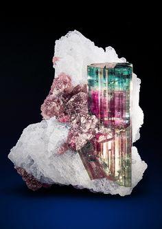 "bijoux-et-mineraux: ""Tourmaline on Albite - Pederneira Mine, São José da Safira, Doce valley, Minas Gerais, Brazil """