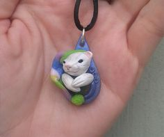 Jack the Bedtime Ferret Sculpted Pendant Polymer by dreamtrappings