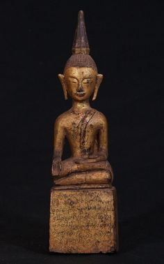 18th century Lanna Buddha from North Thailand, Bhumisparsha Mudra, made from wood, Antique Buddha statues