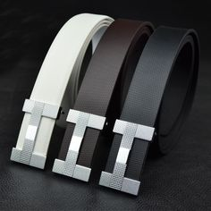 New 2013 Brand Fashion Hot sale Men's Black Genuine Leather BELT Alloy Buckle Man Design Waist Belts Letter buckle Free Shipping