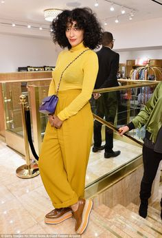 Pop of colour! Tracee Ellis Ross made a bold statement in yellow and gold...