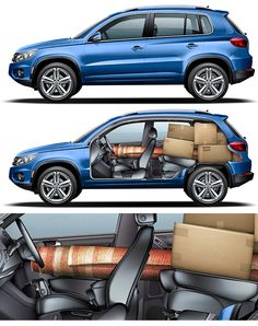 Vw Tiguan -Volkswagen Illustration Cars - Technical Illustration - Jim Hatch Illustration