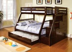 Accessories & furniture,Appealing Bedroom With Varnish Wooden Bunk Bed For Childrens Featuring Guardrail On Bunk Bed And Stairs Combine Under Stairs Storage With Red Oak Wooden Flooring Featuring Ceiling To Floor White Curtain Complete With Glass Window,Engross Triple Bunk Bed For Childrens Design Ideas
