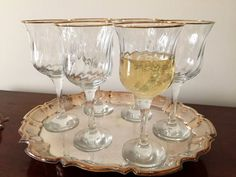 Set of 6 Water or Wine Goblets with Gold by SouthernLadyEstates