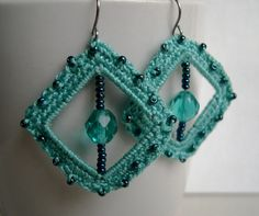 Mint green unique crochet earrings  Mint square earrings