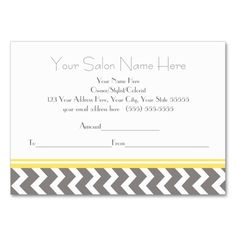 Salon Gift Certificate Yellow Grey Chevron Large Business Cards (Pack Of 100). This is a fully customizable business card and available on several paper types for your needs. You can upload your own image or use the image as is. Just click this template to get started!