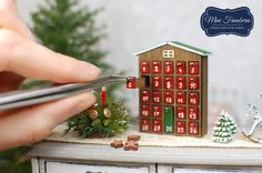 Miniature Advent Calendar with drawers wooden by MiniFanaberia