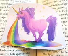 Magical Fantasy Rainbow Barfing Unicorn Sticker or Magnet by Kikidoodle on Etsy https://www.etsy.com/listing/270009365/magical-fantasy-rainbow-barfing-unicorn