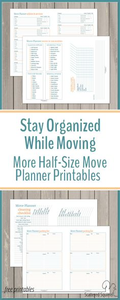 Stay Organized While Moving with Half-Size Move Planner Printables - - Moving can be a very chaotic time. A move planner is a great way to help stay organized during your move. Use these free printables to make your own. Moving Binder, Moving Planner, Moving Checklist, Cleaning Checklist, Moving Day, Moving Tips, Moving House, Moving Hacks, Moving Organisation