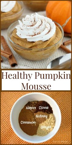 Food and recipes- Healthy Pumpkin Mousse! Sweetened with honey and whipped with … Food and recipes- Healthy Pumpkin Mousse! Sweetened with honey and whipped with coconut cream, this pumpkin mousse is a delicious and healthy holiday dessert! Healthy Holiday Recipes, Healthy Desserts, Fall Recipes, Gourmet Recipes, Healthy Pumpkin Recipes, Healthy Drinks, Healthy Meals, Super Healthy Recipes, Delicious Recipes