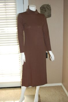 420b7a536ed NWT Womens Lennie for Nina Leonard Brown Turtleneck below knee dress Size S  Modest Dresses For