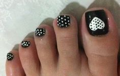 Black Toenail Polish with White Polka Dots