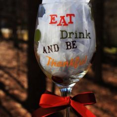 4aae69410f9 Personalized Thanksgiving Wine Glass