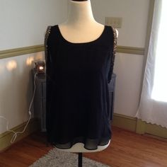 Sheer Black Embellished Dress Top ⭐️ Black Sheer Top i Jeans By Buffalo Brand! ⭐️Small but more like a M/L i Jeans By Buffalo Tops Tank Tops