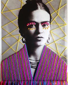 In her work, Mexican textile artist Victoria Villasana applied embroidery atop vintage photograph of artist Frida Kahlo. Embroidery Art, Embroidery Designs, Embroidery Letters, Art Du Collage, Collage Portrait, Portrait Ideas, Frida Art, Mexican Textiles, Colossal Art