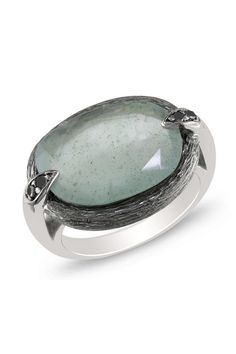 Moss Aquamarine Black Diamond Accented Oval Ring by Weekend Ready on @HauteLook