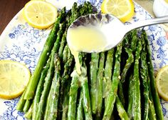 Roasted Garlic Asparagus with Lemon Sauce - Holland House Roasted Garlic Asparagus, Steamed Asparagus, Lemon Asparagus, How To Cook Asparagus, Lemon Herb, Asparagus Recipe, Lemon Pepper Sauce