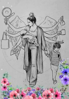 In the art picture above explains how a mother can do it all by herself, here illustrated that mother have many hands… by puja. Art Drawings Beautiful, Dark Art Drawings, Girly Drawings, Art Drawings Sketches Simple, Abstract Pencil Drawings, Mandala Art Lesson, Mandala Drawing, Art And Illustration, Doodle Art