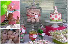 Pink and green polka dot party