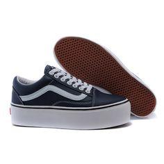 Vans Shoes Navy Blue Platform Old Skool Shoes Womens Classic Leather