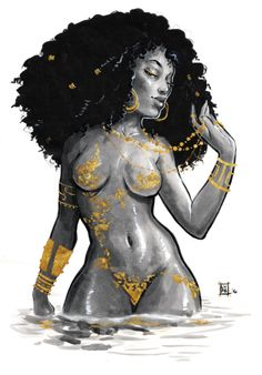 Oshun - Goddess art by Lyfe Illustration