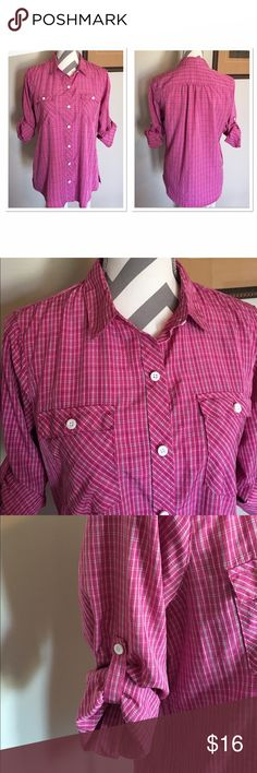 Eddie Bauer Pink Plaid Button Down Shirt Super cute! Long sleeve or roll up sleeves and button them. 88% polyester, 12% nylon. Size medium. Bust: 20 in. Length: 26 in. Excellent condition!! Eddie Bauer Tops Button Down Shirts
