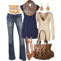 Outfit. Loose blue shirt with pockets, cream/beige sweater, tan handbag, coral jewelry, orange flowered scarf,