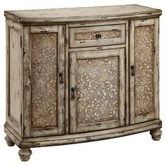 1-drawer distressed chest with 3 doors showcasing a textured floral design.  Product: ChestConstruction Material: