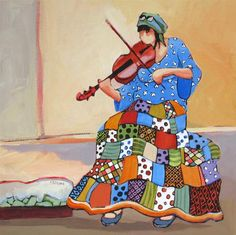 """Music in the Street"" - Original Fine Art for Sale - © Carolee Clark"