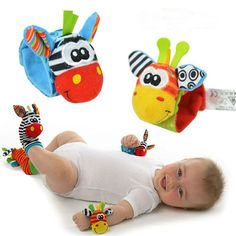 Description: This style is unique and fun ! Put the cute character socks on baby's feet and let them shake their hands and feet. These rattles have a nice sound, pleasing to your baby. The contrasting