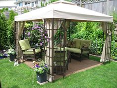 Quiet time. Outdoor living space with a view of the flower garden.
