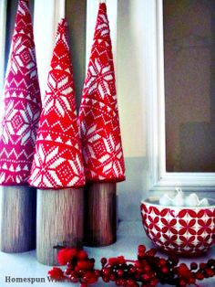 Red & White Christmas Mantel