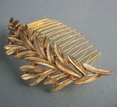 Golden Leaves Hair Comb by LoveHonorUpcycle on Etsy