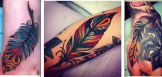 traditional style feathers tattoo