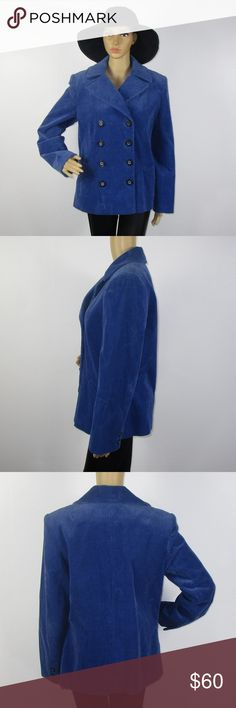 Neiman Marcus Blue Button Up Corduroy Jacket Sz M This beautiful jacket is in excellent condition! As always offers and bundles are welcome. Feel free to add one or more items to a bundle for a private discount offer!!!  Armpit to armpit is 20 inches across Waist is 19.25 inches across Hips are 20.25 inches across Sleeve length is 24.25 inches  Length is 27 inches Neiman Marcus Jackets & Coats