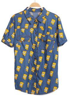 Azul de manga curta Simpson impressão Denim Blusa fotos