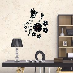 Wall Clocks Unique Butterfly and Flowers Design Mirror Face Wall Clock Home Office Decoration Needle DIY Wall Clocks Office Wall Clock, 3d Wall Clock, Unique Wall Clocks, Diy Butterfly Decorations, Office Decor, Home Office, Big Clocks, Flower Designs, Home And Garden