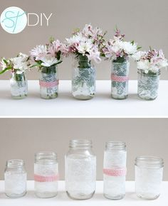 Mason jar decorations do not have to look rustic. Here, lace and pastel pink create a soft, romantic look. They have a detailed DIY tutorial.