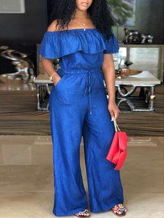 Off Shoulder Drawstring Wide Leg Denim Jumpsuit - Women African Men Fashion, African Fashion Dresses, African Dress, African Attire, Girl Fashion, Fashion Looks, Fashion Outfits, Fashion Tips, Fashion Design
