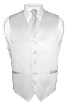 BESTSELLER! Men's Dress Vest NeckTie SILVER GRAY Neck Tie Set for Suit or Tuxedo $19.95