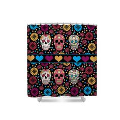 Sugar Skull Shower Curtain Flowers and Hearts by FolkandFunky