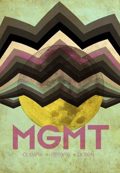 This concert poster from MGMT caught my eye in its really strange selection of colours. Their sound is very hypnotic and would expect a more vibrant use of colour such as with similar bands like Tame Impala.  This dirtier look gives this poster an interesting element of grunge or darkness.