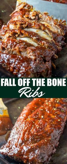 These Fall Off The Bone Ribs are a simple recipe that is baked low and slow in the oven creating a tender, juicy and flavorful bbq dinner. ribs oven BBQ baked pork falloffthebone dinner easy barbeque via 166703623693326243 Oven Pork Ribs, Ribs On Grill, Oven Roasted Ribs, Pork Rib Marinade, Grilling Ribs, Pork Ribs Grilled, Spare Ribs Oven, Ribs In Roaster Oven, Gastronomia