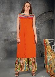 Casual Wear Orange Cotton Embroidered Work Plazzo