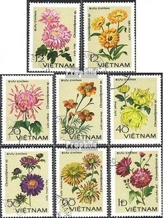 Vietnam 999-1006 (complete issue) used 1978 Chrysanthemums