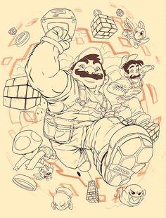 """"""" Here We Go! Created by María Daniela Espinoza """" #Nintendo #GIF #Gaming #MARIO"""