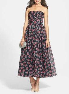 Love this floral print ballgown for prom.