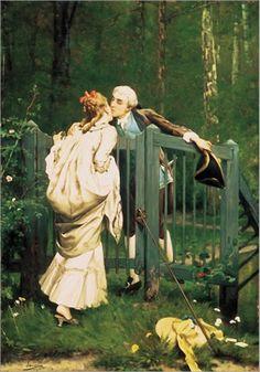 The Kiss by Auguste Serrure (Belgian 1825- 1903)
